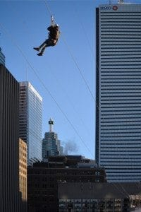 Ziplining in Millennium Park