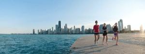 Runners Along Lake Michigan