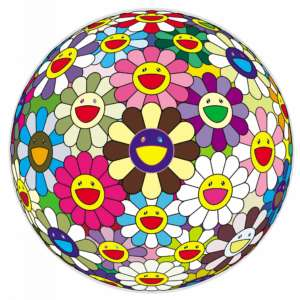 Flower Ball 2, 2002. Acrylic on canvas, wood, 39 ½ in. (100 cm) diameter. Private Collection. Courtesy Galerie Perrotin. © 2002 Takashi Murakami/Kaikai Kiki Co., Ltd. All Rights Reserved. Photo: Norihiro Ueno.