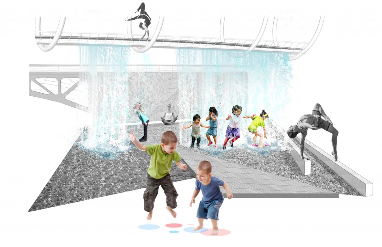 RiverEdgeIdeasLab_Sasaki_Site 2_Collage_The Water Curtain
