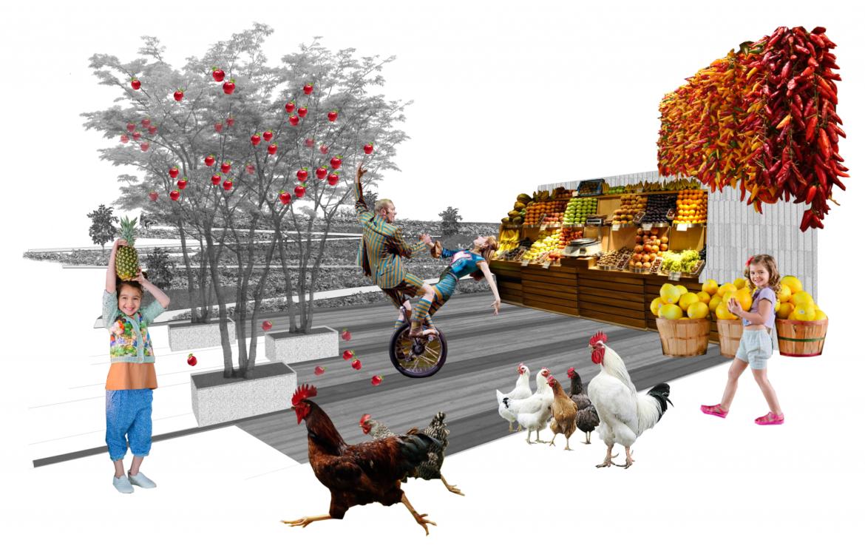 RiverEdgeIdeasLab_Sasaki_Site 3_Collage_A Vibrant Prairie Plaza