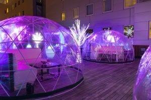 the godfrey rooftop igloo lounges