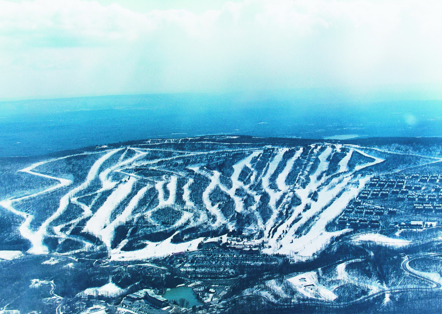 Overview of slopes at an area ski resort