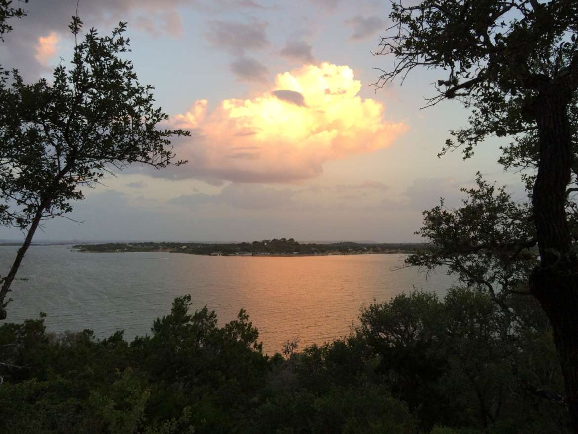 Canyon of the Eagles view of the sunset over Lake Buchanan. Photo by Pamela McKuen