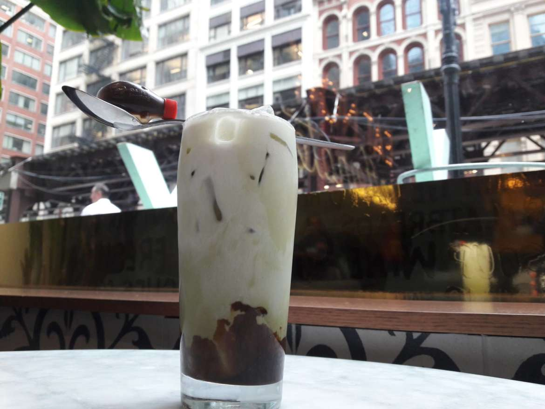 Iced Coconut Caramel Matcha Latte