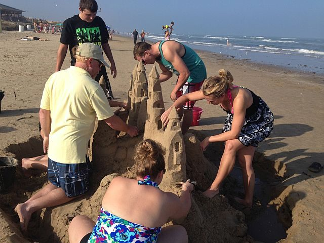 Castle building lesson on South Padre Island. (Photo Credit: Sandy Feet)