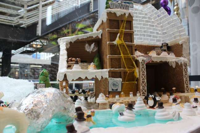 A gingerbread village with ice rink sits in ta corner of theWitt Lobby during the holidays. (theWitt photo)