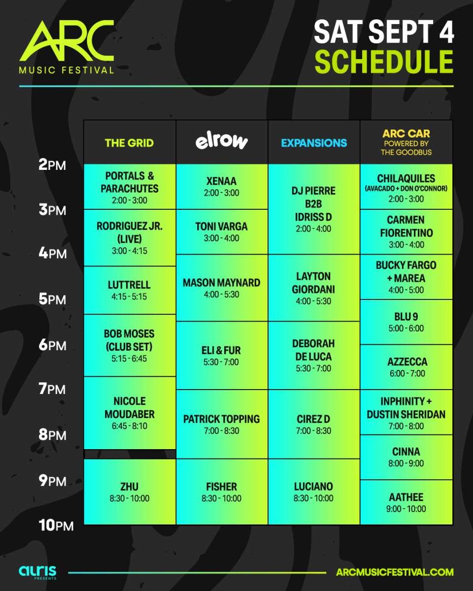 Arcfest Schedule